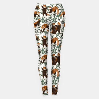 Little red pandas in nature Leggings Bild der Miniatur