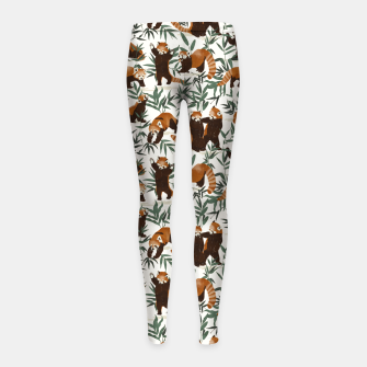 Little red pandas in nature Leggings para niña thumbnail image