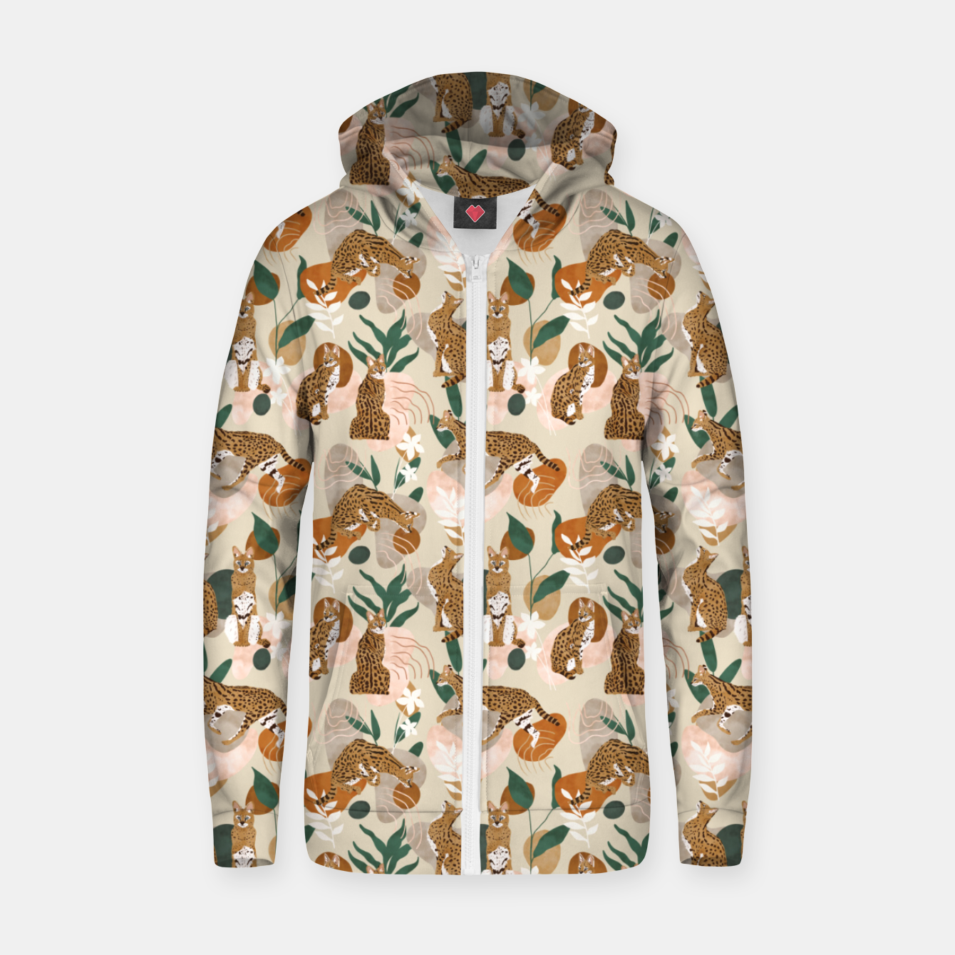 Image of Serval cat abstract nature Sudadera con capucha y cremallera  - Live Heroes