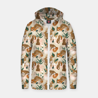Thumbnail image of Serval cat abstract nature Sudadera con capucha y cremallera , Live Heroes