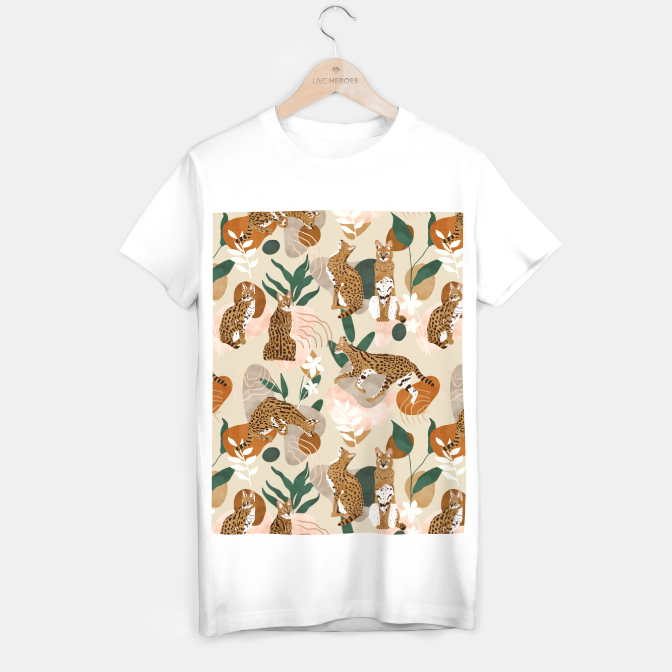 Image of Serval cat abstract nature Camiseta Regular - Live Heroes
