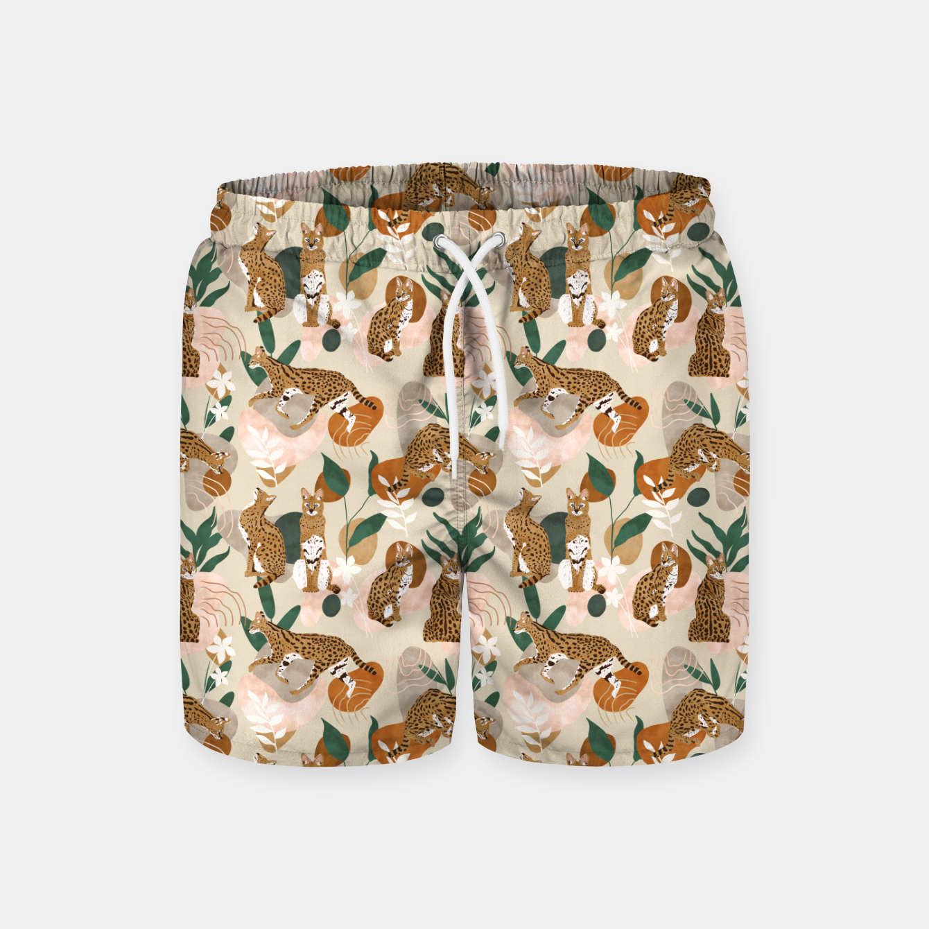 Image of Serval cat abstract nature Pantalones de baño - Live Heroes