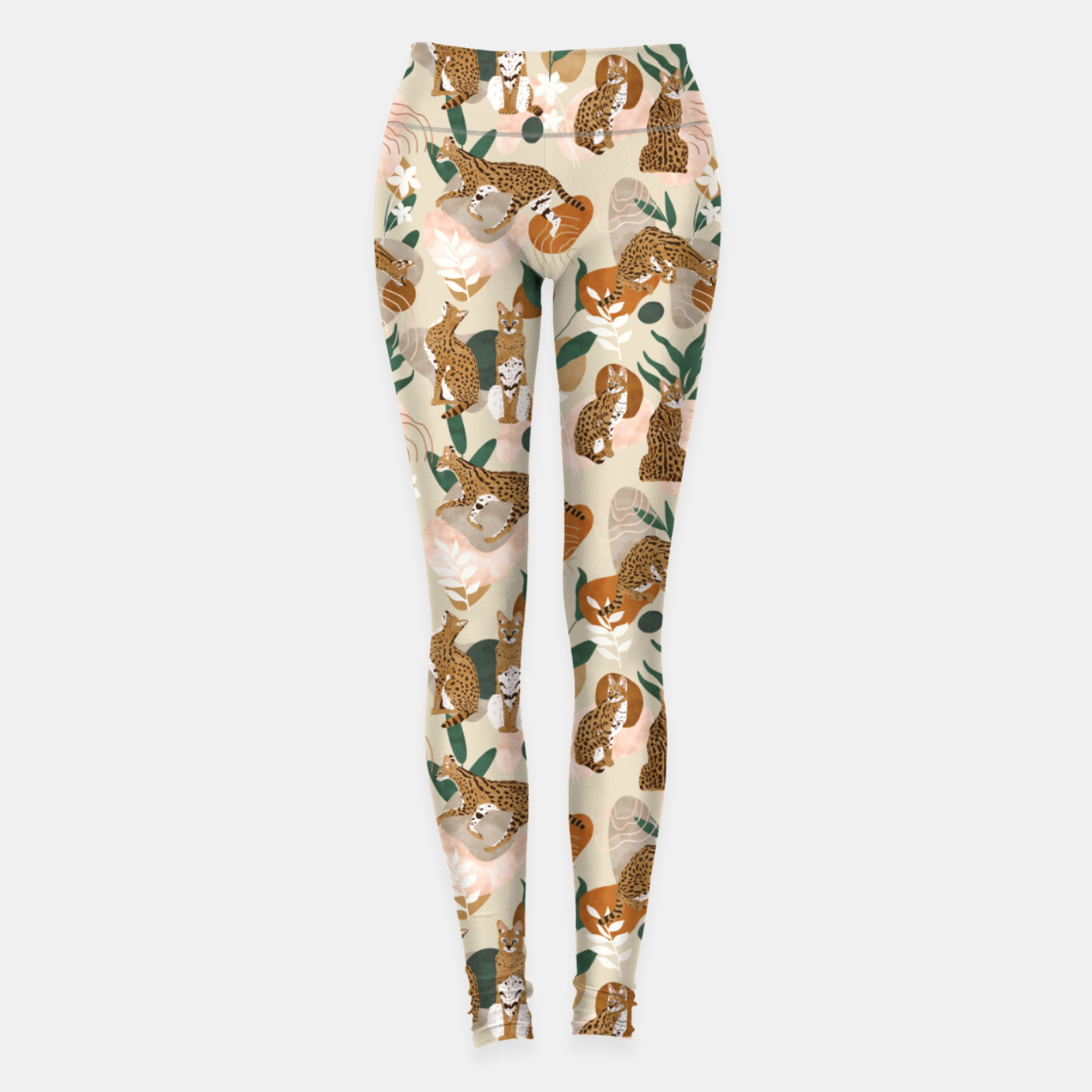 Image of Serval cat abstract nature Leggings - Live Heroes