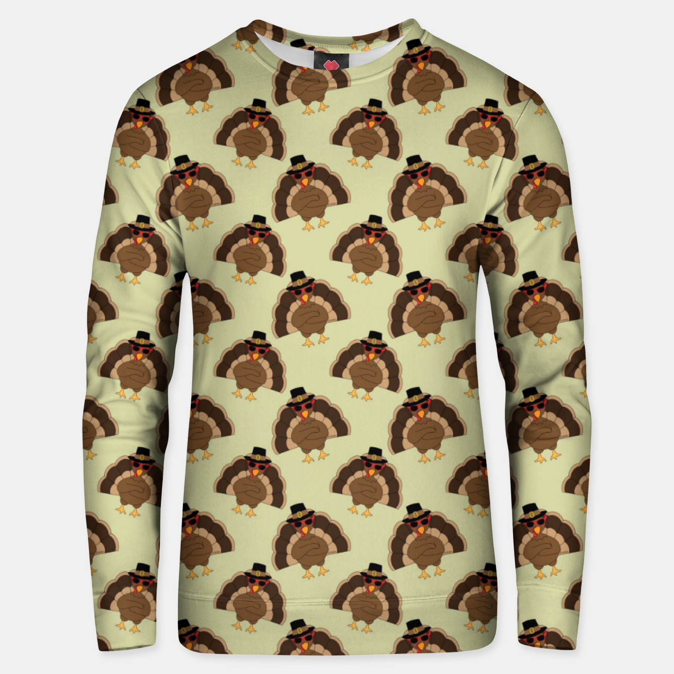 Image of Cool Turkey with sunglasses Happy Thanksgiving pattern Unisex sweater - Live Heroes