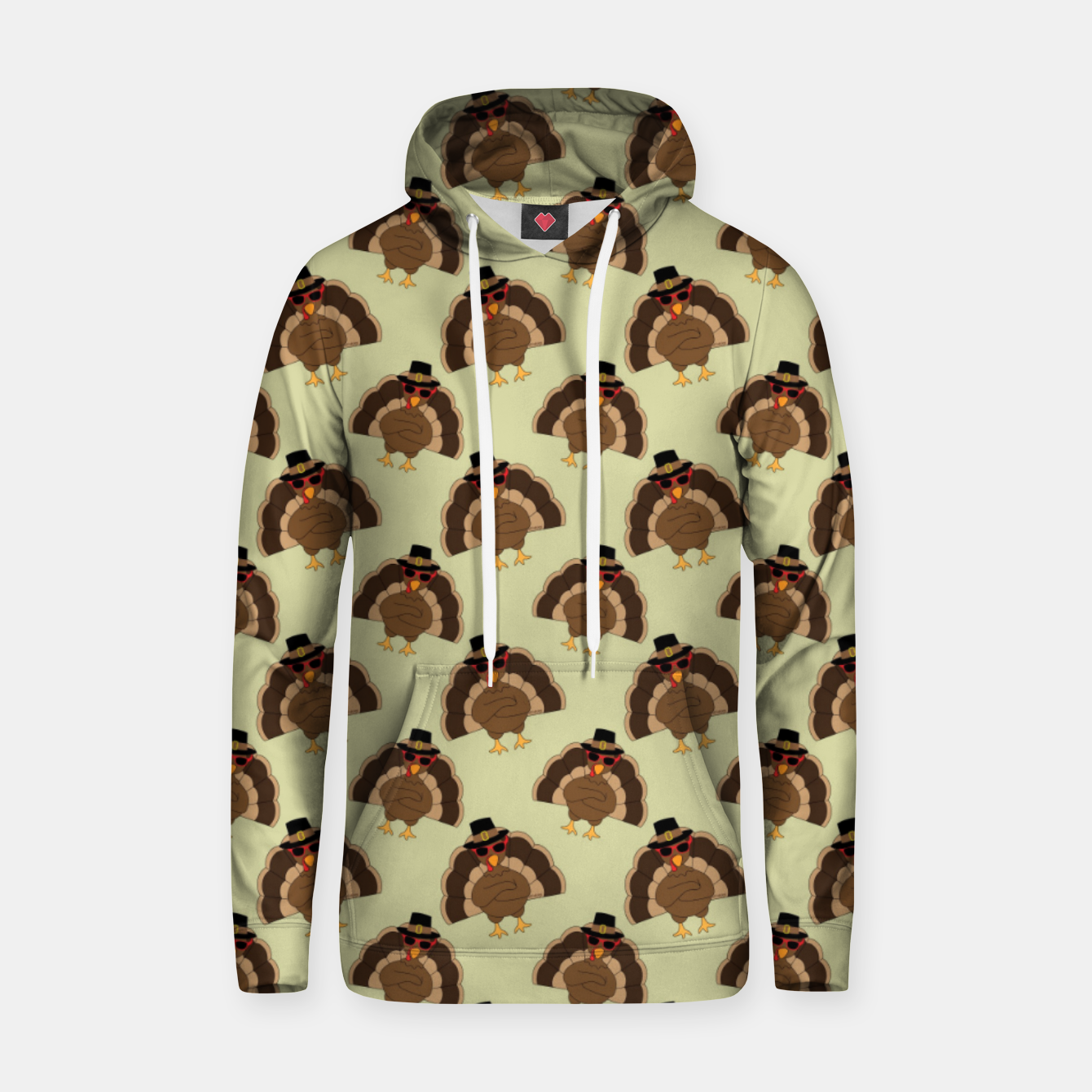Image of Cool Turkey with sunglasses Happy Thanksgiving pattern Hoodie - Live Heroes