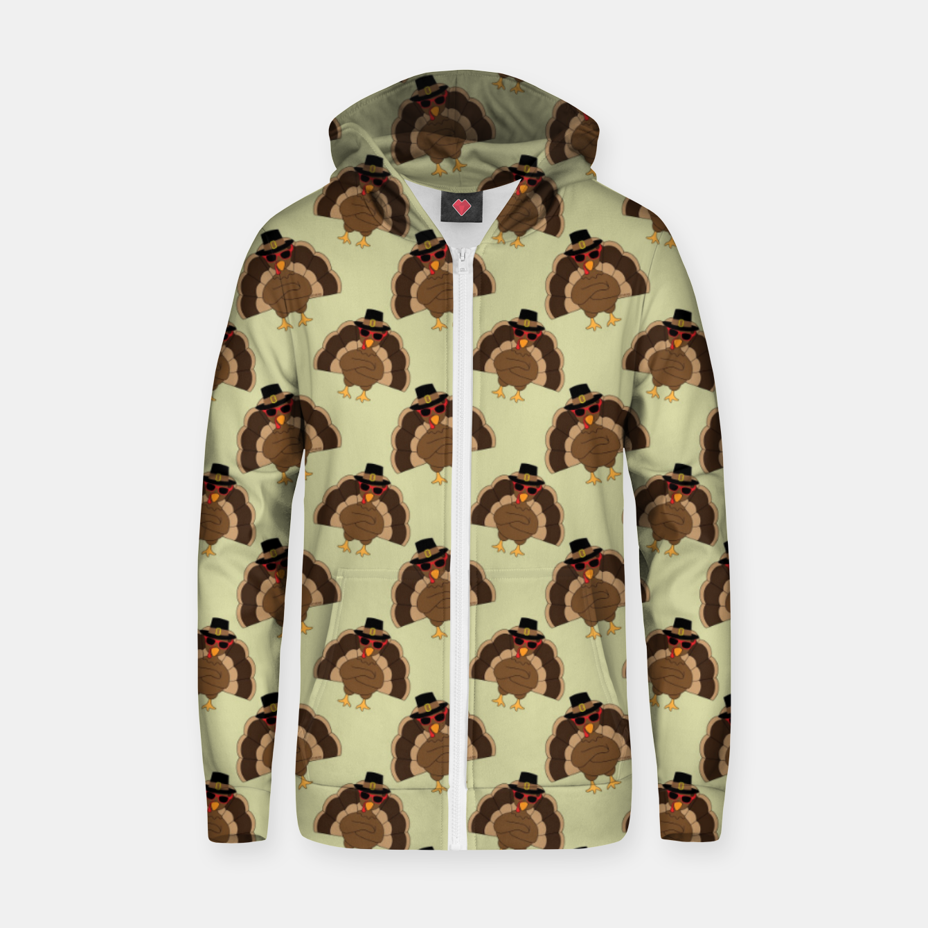 Image of Cool Turkey with sunglasses Happy Thanksgiving pattern Zip up hoodie - Live Heroes