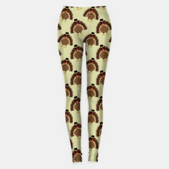 Thumbnail image of Cool Turkey with sunglasses Happy Thanksgiving pattern Leggings, Live Heroes