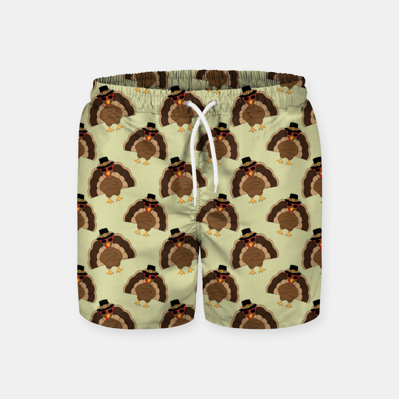 Image of Cool Turkey with sunglasses Happy Thanksgiving pattern Swim Shorts - Live Heroes