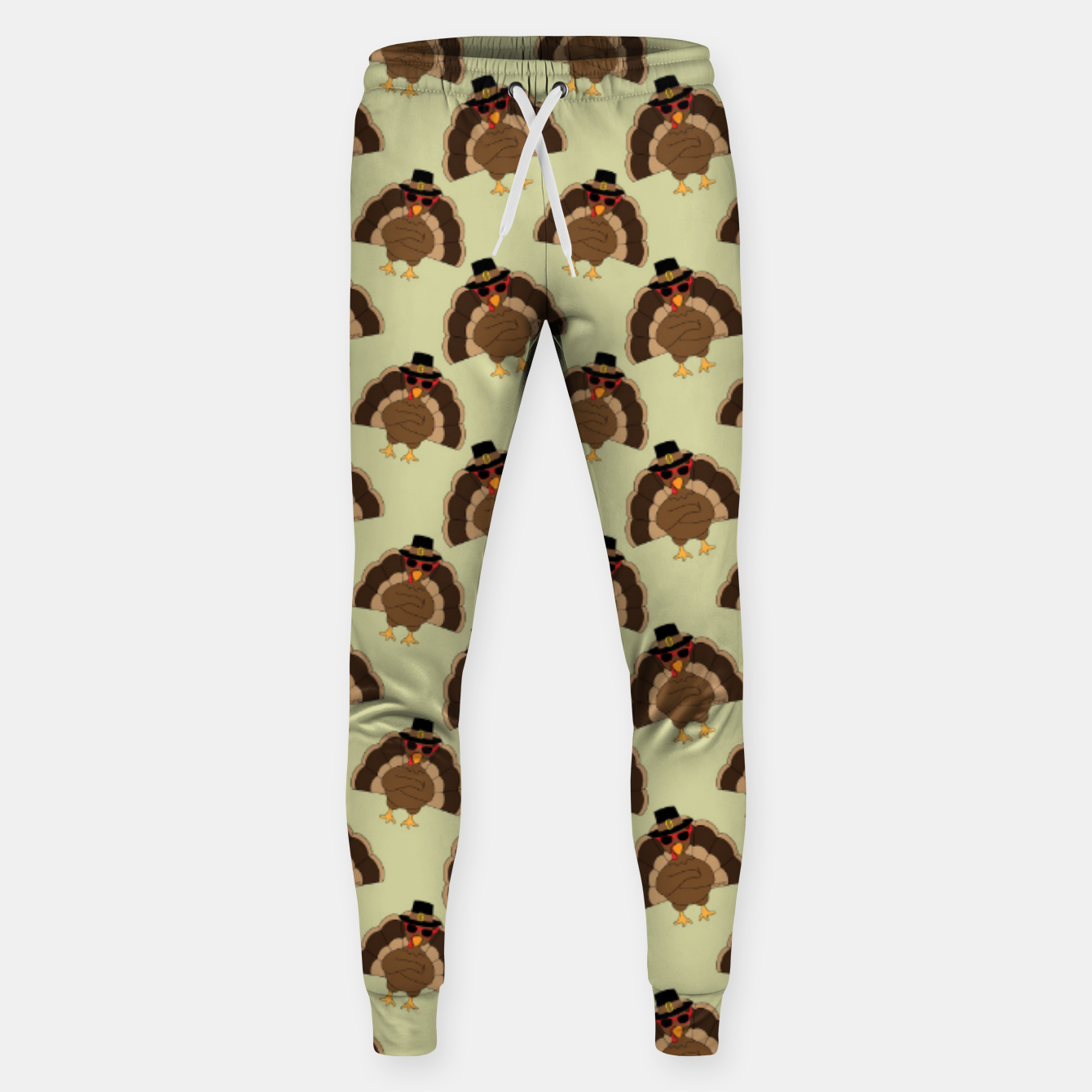 Image of Cool Turkey with sunglasses Happy Thanksgiving pattern Sweatpants - Live Heroes