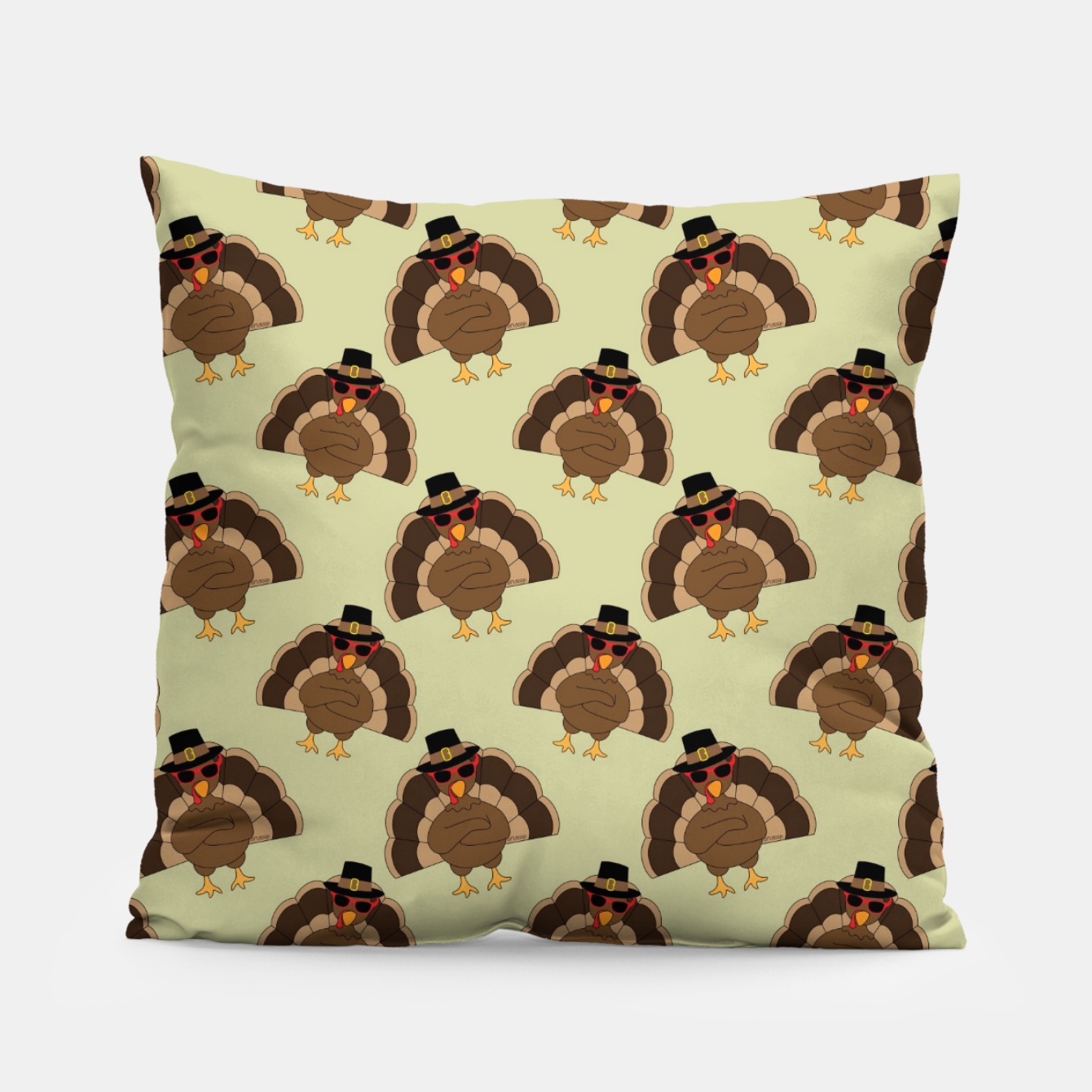 Image of Cool Turkey with sunglasses Happy Thanksgiving pattern Pillow - Live Heroes