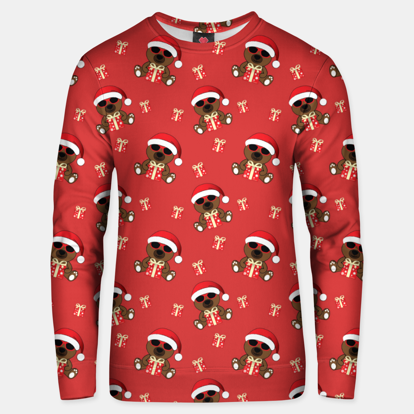 Image of Cool Santa Bear with sunglasses and Christmas gift pattern Unisex sweater - Live Heroes