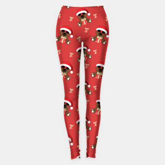 Cool Santa Bear with sunglasses and Christmas gift pattern Leggings thumbnail image