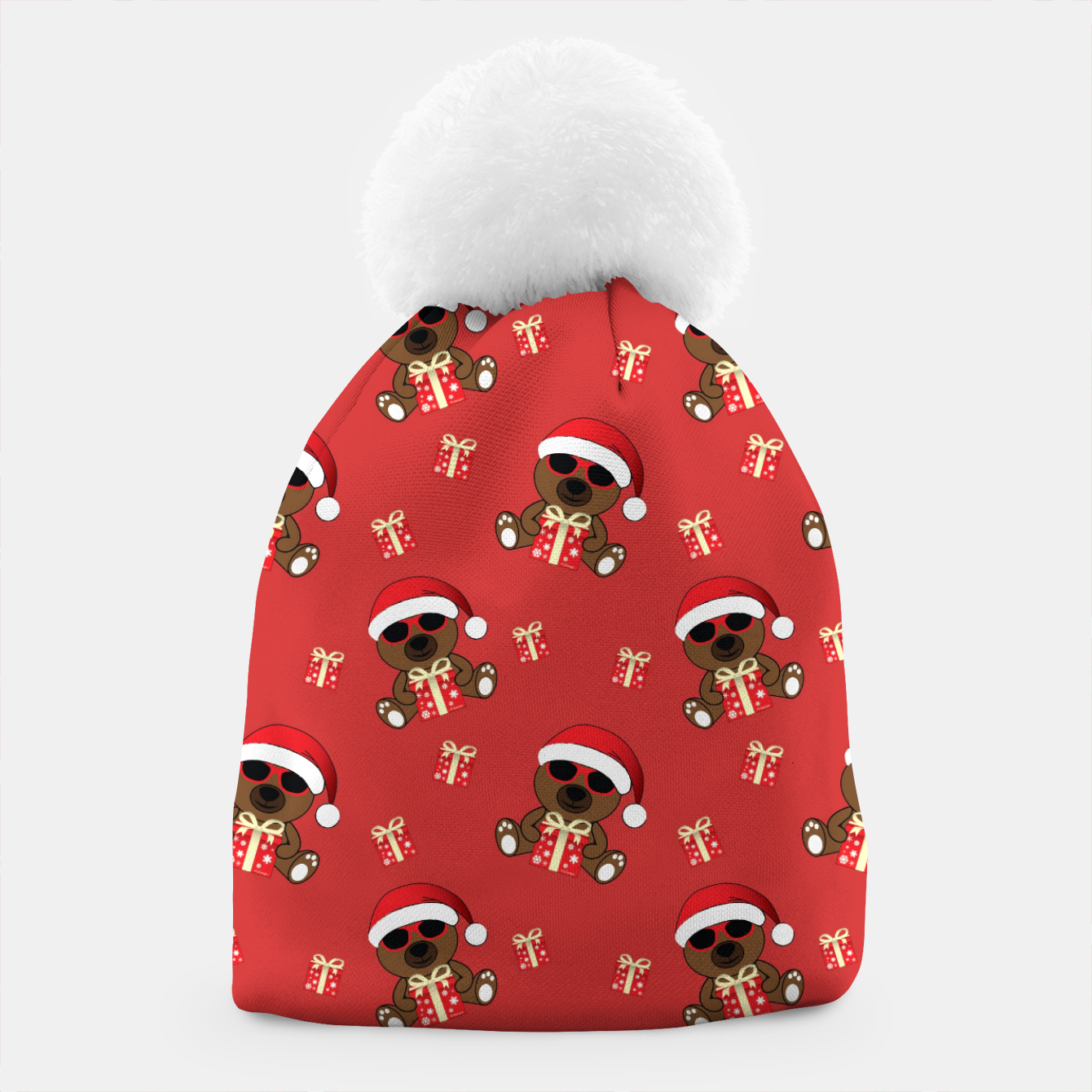 Image of Cool Santa Bear with sunglasses and Christmas gift pattern Beanie - Live Heroes