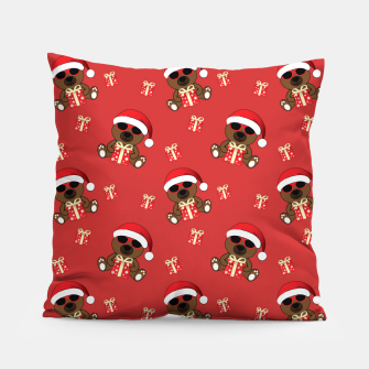 Cool Santa Bear with sunglasses and Christmas gift pattern Pillow thumbnail image