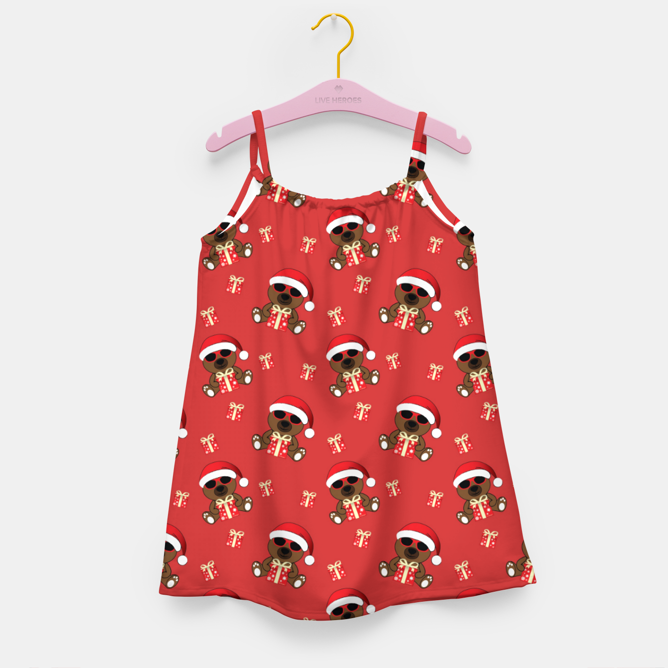 Image of Cool Santa Bear with sunglasses and Christmas gift pattern Girl's dress - Live Heroes