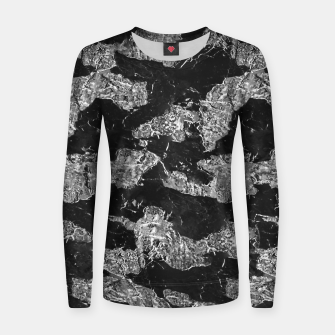Thumbnail image of Black and White Camouflage Texture Print Women sweater, Live Heroes