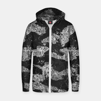Thumbnail image of Black and White Camouflage Texture Print Zip up hoodie, Live Heroes