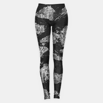 Thumbnail image of Black and White Camouflage Texture Print Leggings, Live Heroes