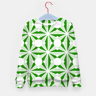 Miniatur Abstract geometric pattern - green and white. Kid's sweater, Live Heroes