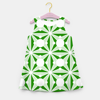 Miniatur Abstract geometric pattern - green and white. Girl's summer dress, Live Heroes