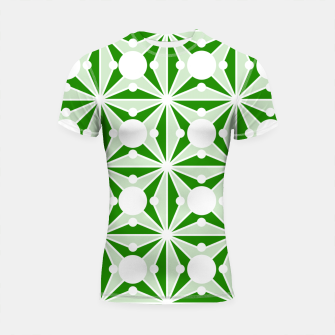 Miniatur Abstract geometric pattern - green and white. Shortsleeve rashguard, Live Heroes