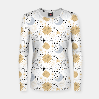 Thumbnail image of Galaxy Lover Gifts Starry Sky Sun Half Moon Sketch Style Women sweater, Live Heroes