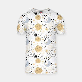 Thumbnail image of Galaxy Lover Gifts Starry Sky Sun Half Moon Sketch Style T-shirt, Live Heroes