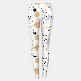 Thumbnail image of Galaxy Lover Gifts Starry Sky Sun Half Moon Sketch Style Leggings, Live Heroes
