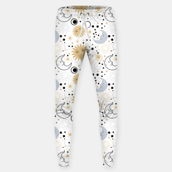 Thumbnail image of Galaxy Lover Gifts Starry Sky Sun Half Moon Sketch Style Sweatpants, Live Heroes