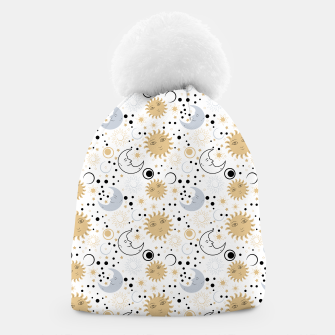 Thumbnail image of Galaxy Lover Gifts Starry Sky Sun Half Moon Sketch Style Beanie, Live Heroes