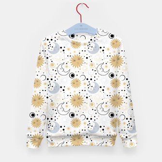 Thumbnail image of Galaxy Lover Gifts Starry Sky Sun Half Moon Sketch Style Kid's sweater, Live Heroes