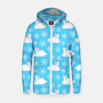 Thumbnail image of Snowflakes Pattern Cute Bunny Merry Christmas Gift Zip up hoodie, Live Heroes
