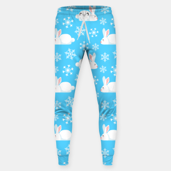 Thumbnail image of Snowflakes Pattern Cute Bunny Merry Christmas Gift Sweatpants, Live Heroes
