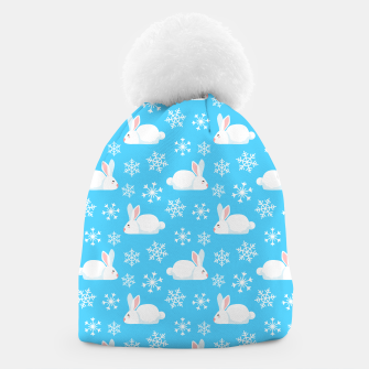 Thumbnail image of Snowflakes Pattern Cute Bunny Merry Christmas Gift Beanie, Live Heroes
