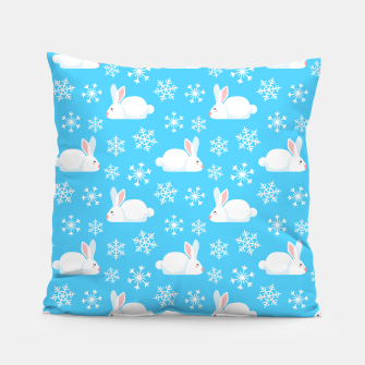 Thumbnail image of Snowflakes Pattern Cute Bunny Merry Christmas Gift Pillow, Live Heroes