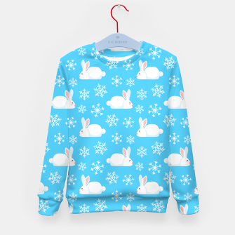 Thumbnail image of Snowflakes Pattern Cute Bunny Merry Christmas Gift Kid's sweater, Live Heroes