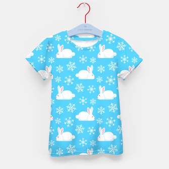 Thumbnail image of Snowflakes Pattern Cute Bunny Merry Christmas Gift Kid's t-shirt, Live Heroes