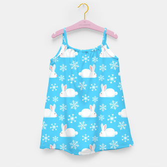 Thumbnail image of Snowflakes Pattern Cute Bunny Merry Christmas Gift Girl's dress, Live Heroes