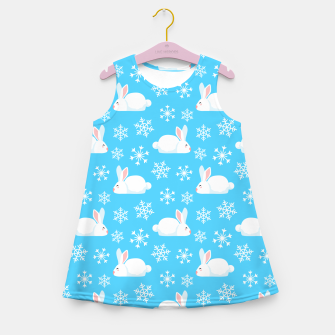 Thumbnail image of Snowflakes Pattern Cute Bunny Merry Christmas Gift Girl's summer dress, Live Heroes