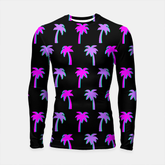 Thumbnail image of Retro Palm Tree Vaporwave Style Vintage Gifts Beach Lover Longsleeve rashguard , Live Heroes