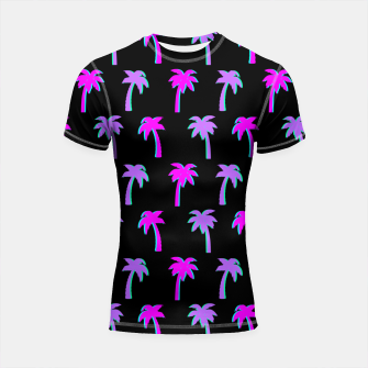 Thumbnail image of Retro Palm Tree Vaporwave Style Vintage Gifts Beach Lover Shortsleeve rashguard, Live Heroes