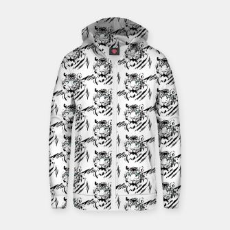 Miniatur White Bengal Tiger Animal Lover Gifts Wild Feline Face Zip up hoodie, Live Heroes