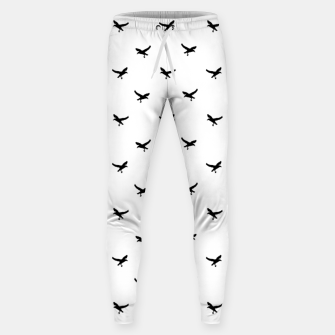 Miniatur Birds Flying Motif Silhouette Print Pattern Sweatpants, Live Heroes