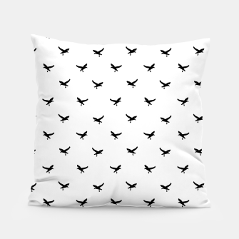 Miniatur Birds Flying Motif Silhouette Print Pattern Pillow, Live Heroes