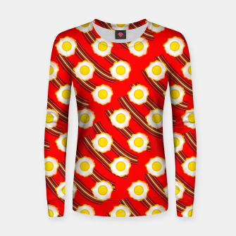 Miniatur Bacon And Eggs Pattern Women sweater, Live Heroes