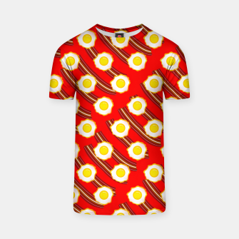 Miniatur Bacon And Eggs Pattern T-shirt, Live Heroes