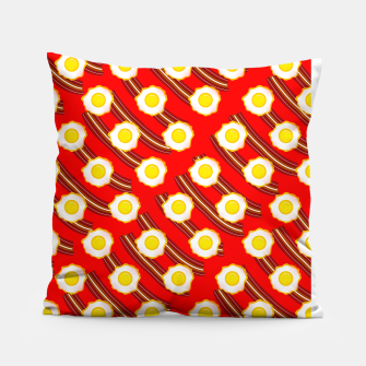 Miniatur Bacon And Eggs Pattern Pillow, Live Heroes