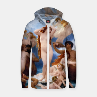 Thumbnail image of The Birth Of Venus by William-Adolphe Bouguereau Classical Old Masters Fine Art Reproduction Zip up hoodie, Live Heroes