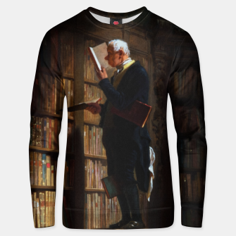 Thumbnail image of The Bookworm by Carl Spitzweg Classical Art Old Masters Reproduction Unisex sweater, Live Heroes