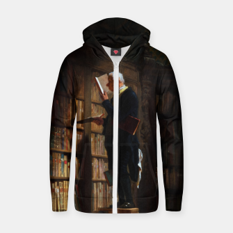 Thumbnail image of The Bookworm by Carl Spitzweg Classical Art Old Masters Reproduction Zip up hoodie, Live Heroes